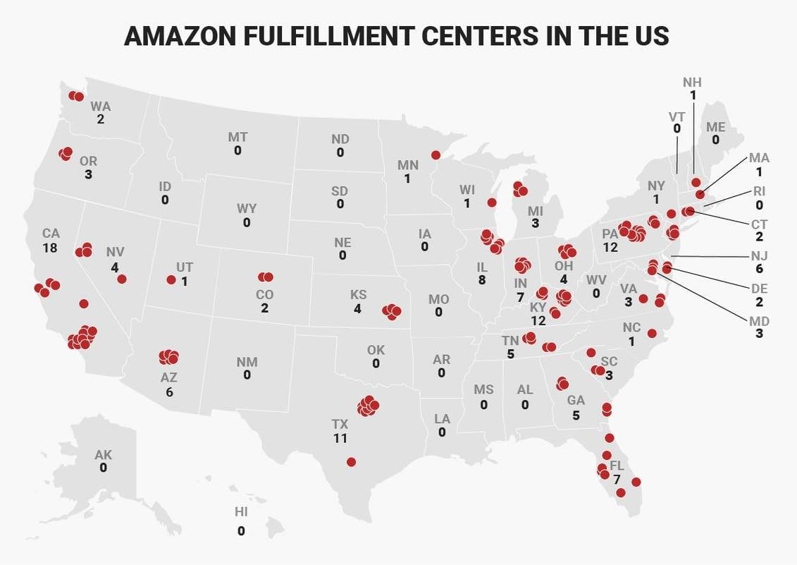 Amazon fulfillment centers in the US