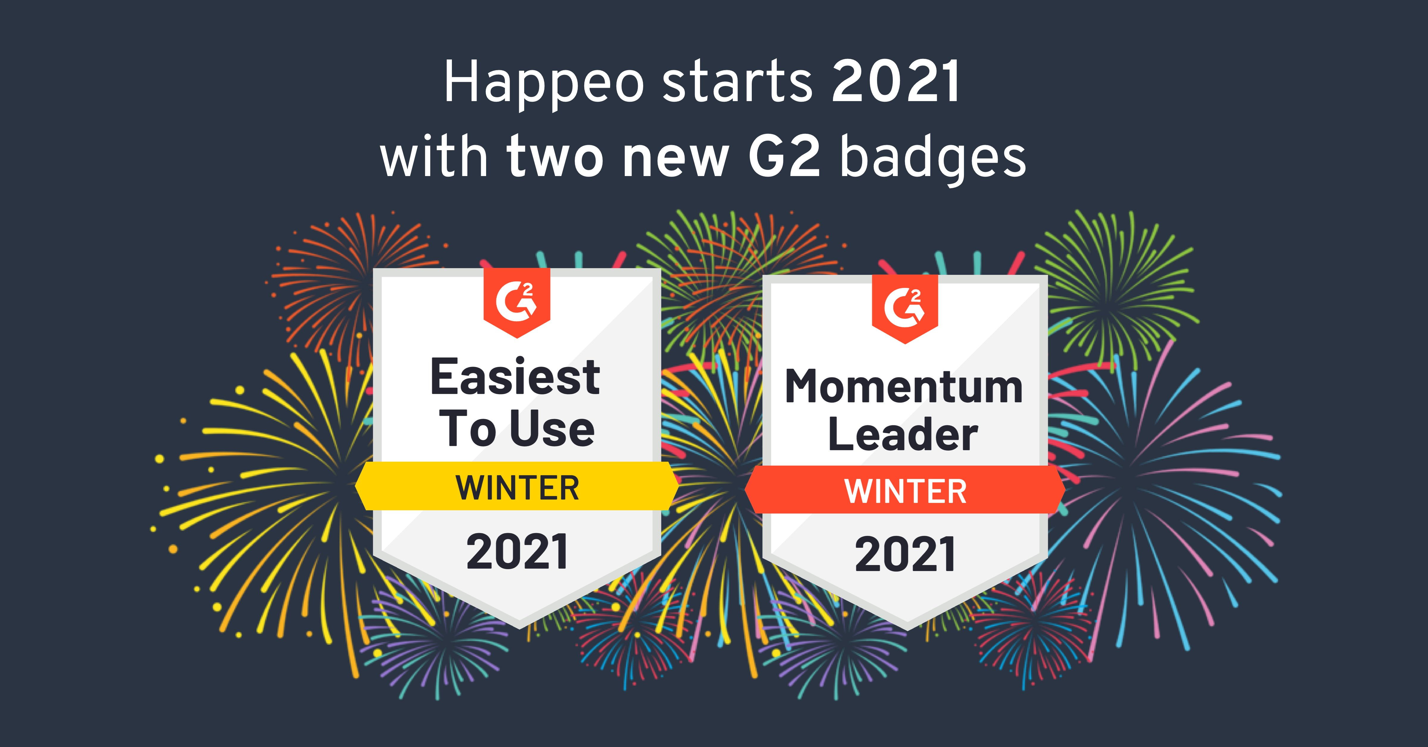 Happeo starts 2021 with two G2 badges and recognition from ClearBox's intranet report