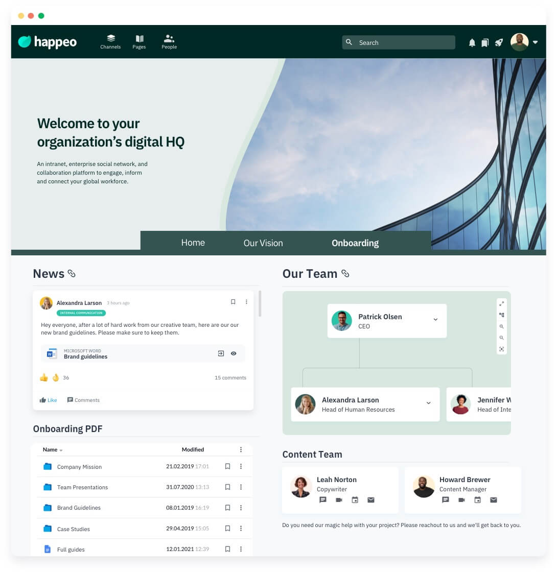 Happeo Intranet Pages