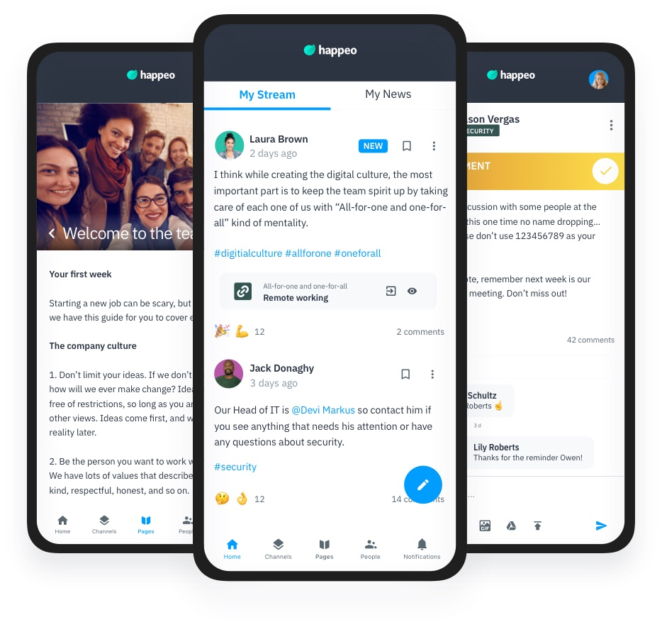 Happeo mobile app