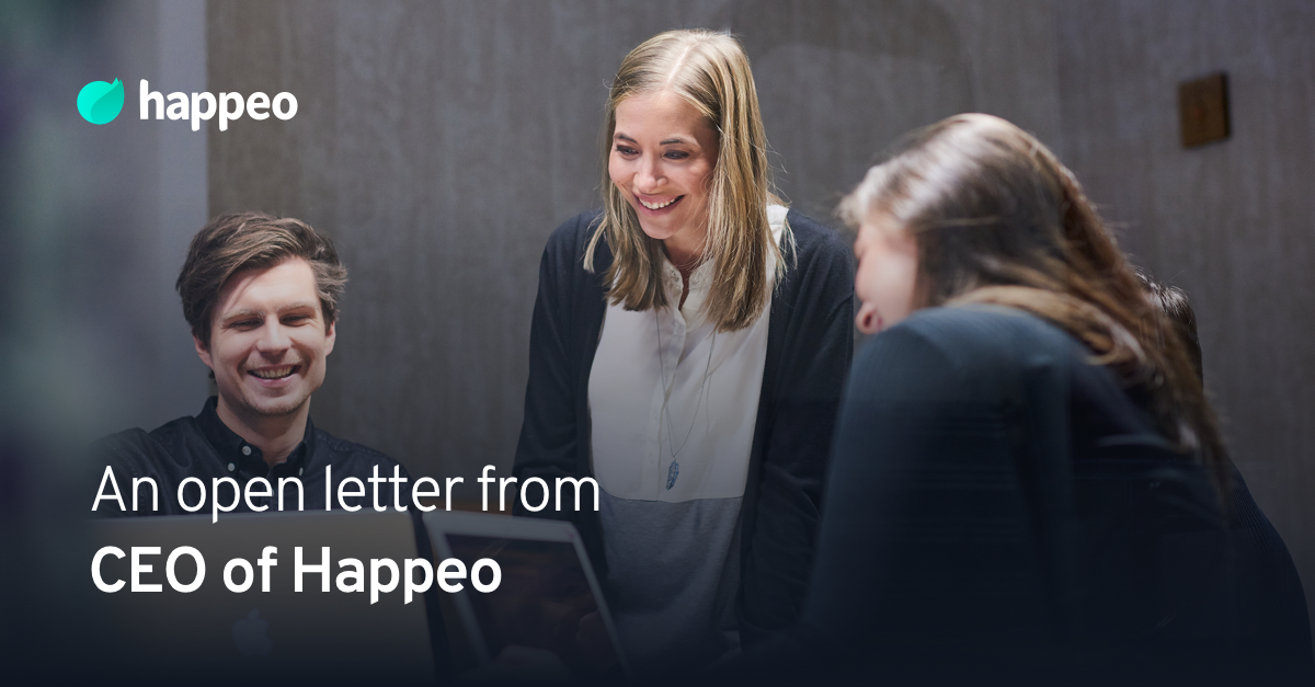 Happeo's $8M funding - announcement letter to our clients